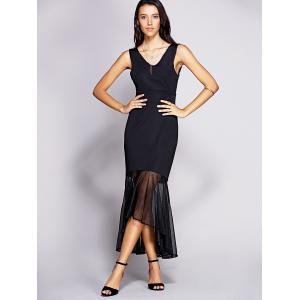 Backless Mesh Insert Long Fitted Mermaid Dress - BLACK M