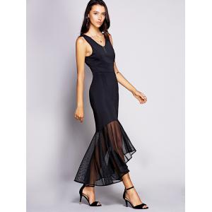 Backless Mesh Insert Long Fitted Mermaid Dress - BLACK 2XL