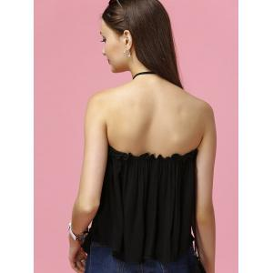 Stylish Convertible Design Embroidered Women's Tank Top - BLACK 2XL