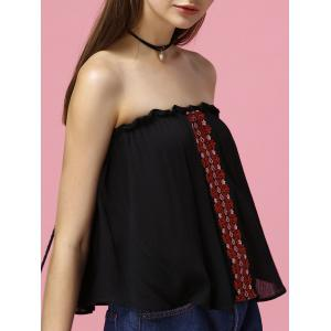 Embroidered Multiway Flowy Tank Top - Black - Xl