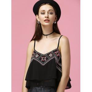 Layered Embroidered Cropped Camisole Top -