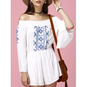 Off The Shoulder Embroidered Bell Sleeve Romper