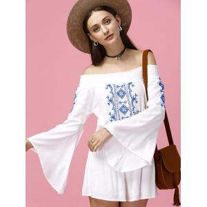 Off The Shoulder Embroidered Bell Sleeve Romper - WHITE 2XL