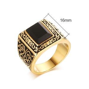 Punk Style Square Shape Faux Black Onyx Etched Carved Alloy Ring For Men -