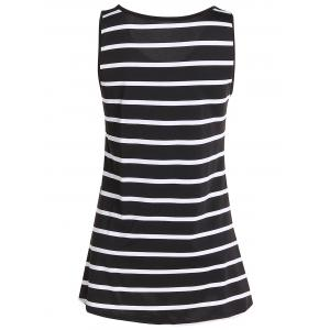 Sequined Anchor Striped Long Tank Top -
