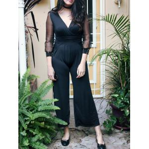 Simple V-Neck Long Sleeve Wide-Leg Jumpsuit For Women - Black - One Size