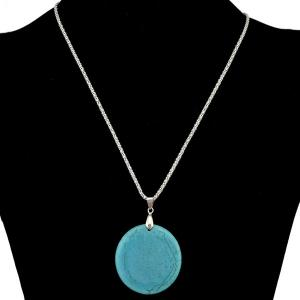 Bohemian Style Round Faux Turquoise Necklace -