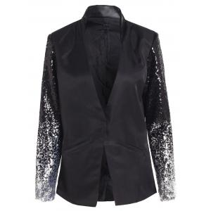 Plunging Neck Sequined Long Blazer - Black - Xl