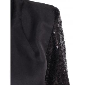 Plunging Neck Sequined Long Blazer - BLACK M