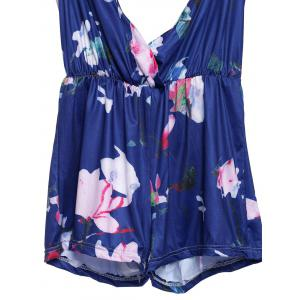 Stylish Plunging Neckline Floral Print Open Back Romper For Women - PURPLISH BLUE L