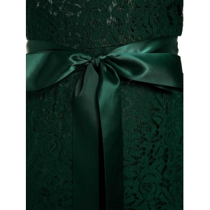 Backless Lace Long Formal Evening Dress - GREEN M