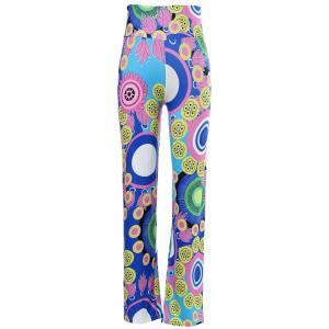 Chic Mid-Waisted Colorful Print Loose-Fitting Exumas Pants For Women - Colormix - S