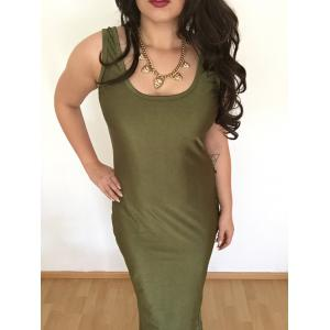 Sexy U Neck Sleeveless Pure Color Bodycon Women's Dress - Army Green - L