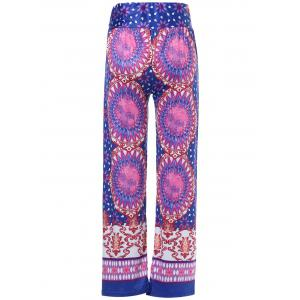 Ethnic Style Mid-Waisted Geometric Pattern Loose-Fitting Exumas Pants For Women - COLORMIX L