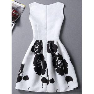 Charming Round Neck Sleeveless Rose Print Slimming Women's Dress -