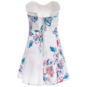 Sexy Strapless Sleeveless Floral Print Women's Dress -