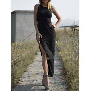 Graceful Round Collar Sleeveless High Slit Black Maxi Dress For Women - Black - Xl