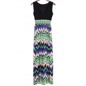 Bohemian Plunging Neckline Zig Zag Sleeveless Dress For Women - Green - Xl