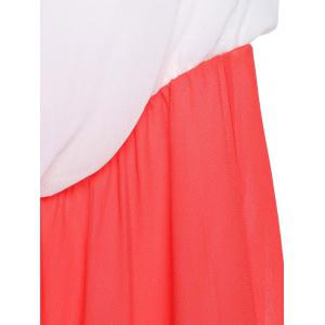 Stylish Sleeveless Color Block Zig Zag Women's Tube Maxi Dress - COLORMIX XL