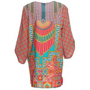 Trendy Style V-Neck Full Print 3/4 Sleeve Dress For Women -