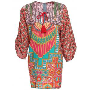 Trendy Style V-Neck Full Print 3/4 Sleeve Dress For Women