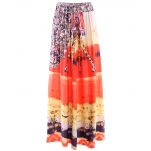 Mid-Waisted African Print Maxi Skirt