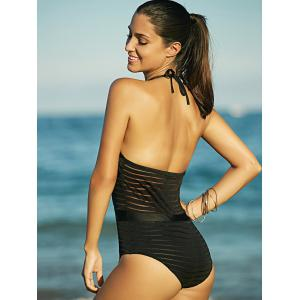 Attractive See-Through Backless Halter Swimwear For Women - BLACK M