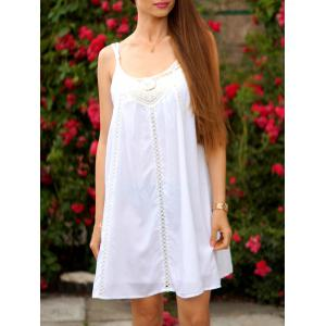 Chic Women's Spaghetti Strap Lace Splicing Dress