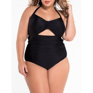 Cut Out Halter Ruched One Piece Swimsuit