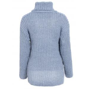 Stylish Turtleneck Long Sleeve High-Low Sweater For Women -