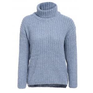 Stylish Turtleneck Long Sleeve High-Low Sweater For Women - Blue Gray - One Size(fit Size Xs To M)
