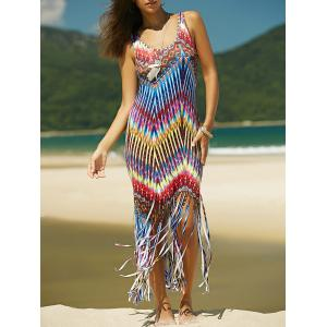 Colorful Boho Zigzag Fringe Racerback Flapper Dress