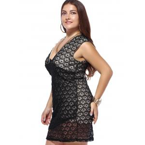 Plus Size Plunging Neck Hollow Out Cocktail Bodycon Dress -