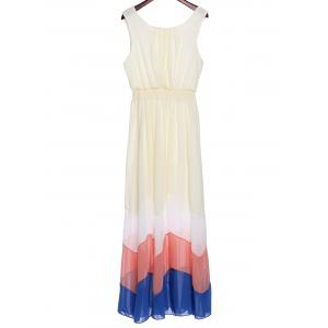 Bohemian Scoop Neck Sleeveless Zig Zag Chiffon Dress For Women - Off-white - 2xl