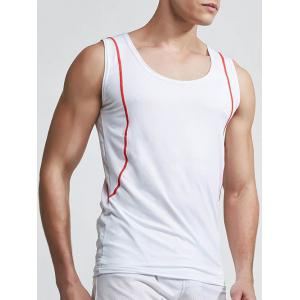 Round Neck Linellae Design Quick-Dry Solid Color Tank Top For Men - WHITE XL