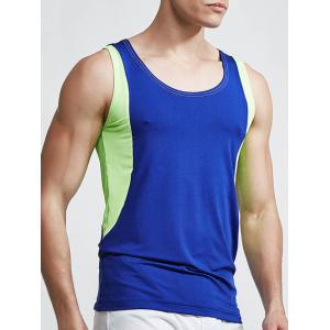 Round Neck Linellae Design Quick-Dry Solid Color Tank Top For Men - SAPPHIRE BLUE L