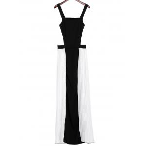 Sexy Square Neck Backless Color Block Chiffon Dress For Women -