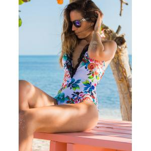 Sexy Halter   Floral Print One Piece Swimwear For Women -