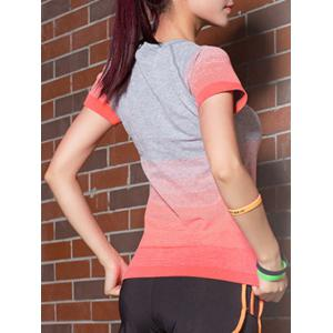 Ombre Short Sleeves Workout Gym Running T-Shirt -