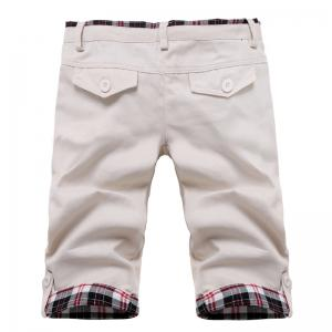 Fashion Straight Leg Plaid Spliced Color Block Zipper Fly Shorts For Men -