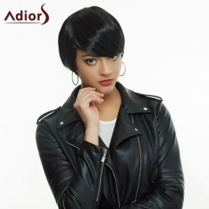 Noble Short Haircut Black Straight Side Bang Synthetic Wig For Women