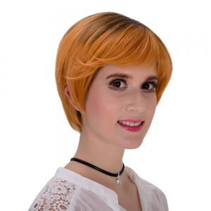 Fashion Short Layered Synthetic Straight Black Brown Ombre Adiors Wig For Women - Black And Brown