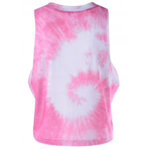Stylish Women's Pink Letter Pattern Jewel Neck Tank Top -