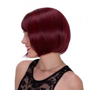 Vogue Straight Side Bang Synthetic Wine Red Short Adiors Wig For Women - Wine Red