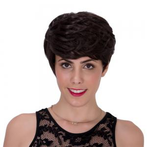 Fluffy Straight Layered Capless Black Brown Short Adiors Wig For Women - Black Brown