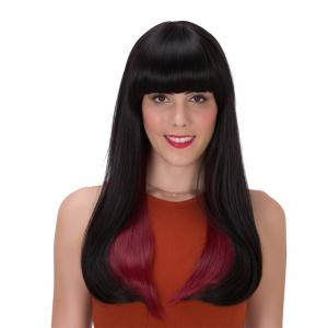Stunning Black Ombre Wine Red Synthetic Straight Long Adiors Wig For Women - Colormix