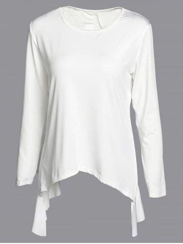 Shop Fashionable 3/4 Sleeve Solid Color Asymmetrical Cut Out Blouse For Women
