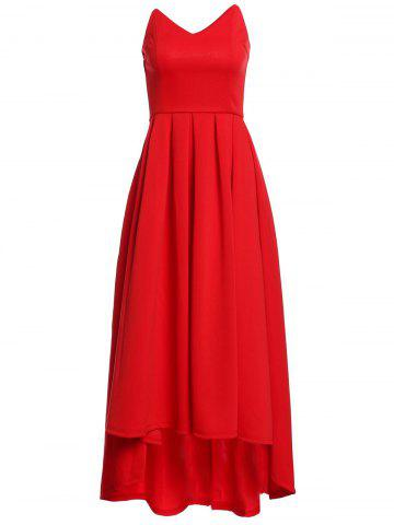 Buy V Neck Strapless Prom Maxi Dress RED M