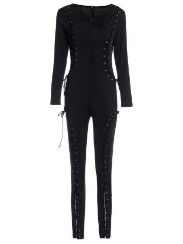 Sexy Scoop Lace-Up Criss-Cross Long Sleeves Jumpsuit For Women - Black - Xl
