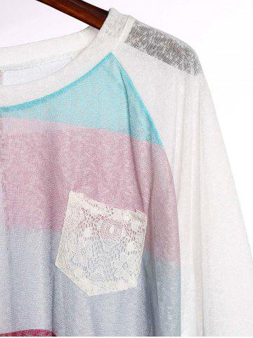 Fashion Stylish Scoop Neck 3/4 Sleeve Striped Pocket Spliced Women's T-Shirt - M COLORMIX Mobile